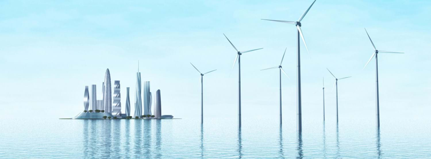 Wind turbines in the middle of the sea and modern city on an island. Futuristic landscape. 3d rendering image. Photo by Shutterstock.