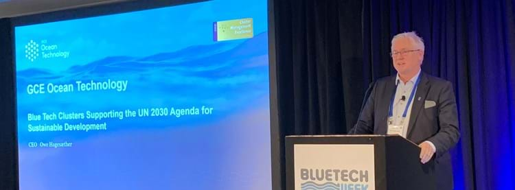 Owe Hagesæther, CEO of GCE Ocean Technology presenting the latest news from our cluster at the BlueTech Week in San Diego, November 2019.